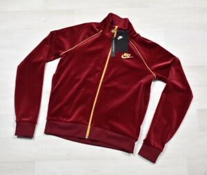 Nike Sportswear Womens Full Zip Embroidered Velour Jacket XS Red AQ7977-618