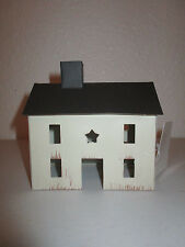 Primitive cream Tin Saltbox House Country Home Decor Shelf Sitter