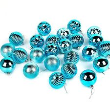 Christmas Tree Hanging Bauble Decorations (60mm) 8 x Plain / Glitter Turquoise