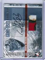 06/07 BETWEEN THE PIPES DWAYNE ROLOSON GAME-USED EMBLEM AUTO /10 MINNESOTA WILD