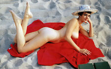 1960s Risque Pinup Virginia Gordon lying on a red beach towel 7 x 11 Photograph