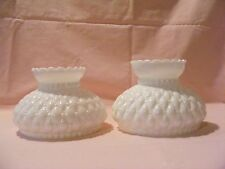 DECORATIVE WHITE MILK GLASS LAMP SHADES - SET OF 2