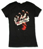 Judas Priest British Steel Girls Juniors Black T Shirt New Official Metal