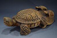 Japanese Antique Carved Wood Tortoise Turtle Sculpture Ornament Vintage Signed
