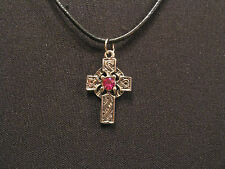 "CELTIC CROSS SMALL VINTAGE NECKLACE GOTH OCCULT PAGAN UK IMPORT  ""PINK BEAD"""