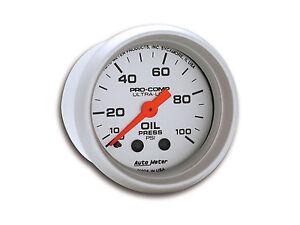 "Auto Meter Ultra-Lite Mechanical Oil Pressure Gauge 2-1/16"" (52mm) 0-100 Psi"