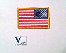 """USA US American Flag Uniform Patch REVERSE GOLD 3.5"""" x 2.25"""" *Buy 2 Get 1 Free*"""