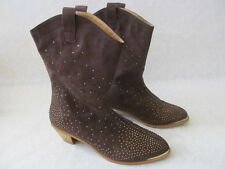 DIANE GILMAN BROWN EMBELLISHED STUD BOOTS SIZE 10 M - NEW W BOX