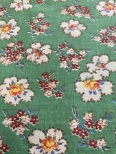 Vintage 30's 40's Feedsack Fabric Tiny Plum White Floral Bouquets Clouds, Green