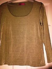 NEW LADIES GREEN STRETCH TOP SIZE 14 STRETCHY MATERIAL