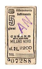 BIGLIETTO TICKET EDMONSON FERROVIE NORD ABBONAMENTO CUSANO  MILANO  19-1-1982