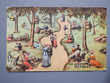 R&L Postcard: Comic, Lovers Retreat, Courting Couples, Winding Path Woods 1907
