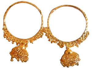 22K Gold Plated Indian Fashion Bali Jhumka Earrings Set Round Shape Bollywood
