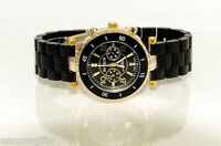 Womens Black & GOLD CHRONOGRAPH STYLE FASHION WRISTWATCH Bracelet Band NEW