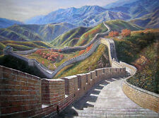 """Wonderful Oil painting landscape World's top ten wonders Chinese Great Wall 36"""""""