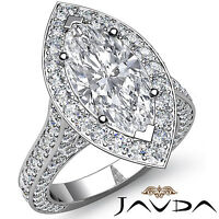 Marquise Diamond Engagement Vintage Style Ring GIA I Color SI1 Platinum 3.1 ct
