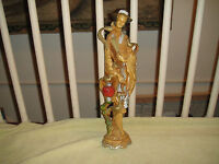 Superb Chinese Or Japanese Woman Statue-Molded Sculptured Resin-Birds On Woman
