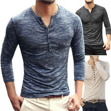 Mens Basic T-Shirts V-Neck Henley Shirts Sweatshirt Casual Raglan Stretchy Tee