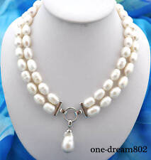 "2strands 20"" 15mm rice white freshwater pearl necklace pendant"