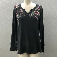 Style & Co. Waffle Knit Top Blouse Women's L Gray Embroidered Split Neck Casual