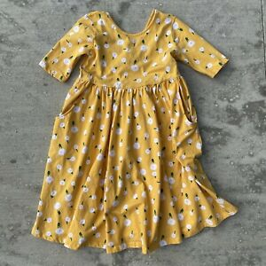 Hanna Andersson Girls Yellow Flower Babydoll Dress 3/4 Sleeve Size 12 150