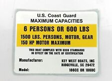 Key West Maximum Capacity Placard Boat Decal 6 Person / 1500Lbs / 150HP 186CC/DC