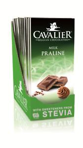 Cavalier Milk and Praline Chocolate Bar 85g with Stevia