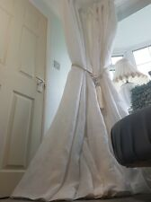 """NEW Bespoke White 100% Linen 52"""" Width 90"""" Long Blackout Thermal Lined Curtains"""