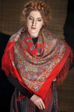 Pavlovo Posad Shawl with Silk Fringe Scarf - Multi-Color