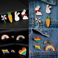 Cartoon Enamel Rabbit Animal Rainbow Brooch Pin Collar Decor Badge Corsage Women