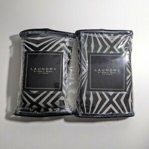Laundry Shelli Segal Set of 2 Avalon Euro Sham NEW Black Silver Geometric 26x26
