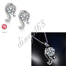 925 Sterling Silver Virgo Zodiac Sign Crystal Pendant + Stud Earrings Set S132