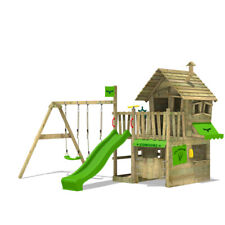 Wooden climbing frame FATMOOSE CountryCow with double swing and big playhouse