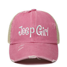 woman Hat Girl Embroidery Washed Distressed Hat Ponytail Criss Cross Ponytail