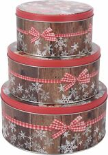Set of 3 Christmas Cake Round Storage Tins With  Biscuit Cookie Design