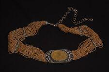 Estilo bohemio Damas Cinturón de pequeñas cuentas ámbar w hebilla de metal ornamentales (S426)