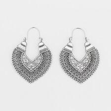 Heart Earrings Ethnic Tribal Aztec Hippy Boho Dangle Statement Tibetan Silver