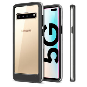 For Galaxy Note10, S10 Case Line Dual Hybrid Layer Clear Hard Back w/ TPU Bumper