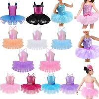 Kids Girls Ballet Dance Leotard Tutu Dress Gymnastics Sequins Dance Wear Costume