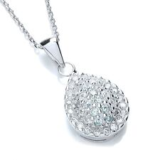 J JAZ Lazzara Sterling Silver Pear Shaped Cubic Zirconia Pendant Necklace