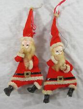 2 Vintage Felt Laughing Santa Claus Spun Cotton Beards Christmas Ornaments