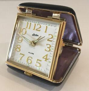 Vintage Linden Travel Clock Wind Up Black Snap Close Square Case