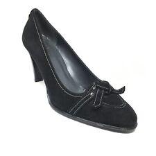 Women's Stuart Weitzman Pump Heels Shoes Size 8 W Wide Black Suede Bow R13