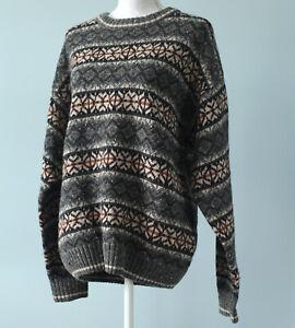 Vintage 90s Jantzen Wool Cable Knit Nordic Sweater Medium Cream Blue Size Large