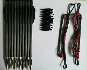 10pk Broadhead Arrows and 2 String Combo for Cobra RX Adder