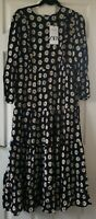 Zara Women's Black Daisy Floral Print Maxi Dress Size M Medium New With Tags
