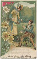 Couple Gathering Flowers Art Nouveau Postcard – udb - 1904