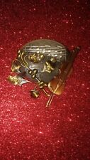 Antique Vintage  Hand Crafted Big Copper Violin and Leaves Brooch