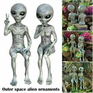 Outer Space Alien Garden Statue Figurine Sculpture Lawn Yard Home Decoration