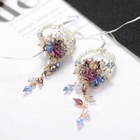 Charm Women Crystal Flower Tassel Stud Dangle Drop Fringed Hook Earrings Jewelry